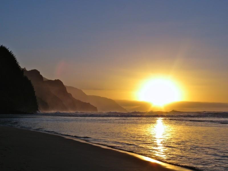 Sunset over Haena State Park in Kauai, Hawaii.