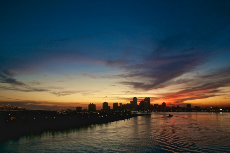 One of my best photographic opportunities. Sunset over New Orleans from a cruise ship in the Mississippi.