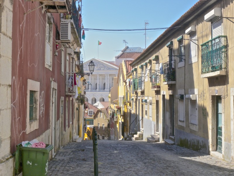 A street in the hills of Lisbon, Portugal.